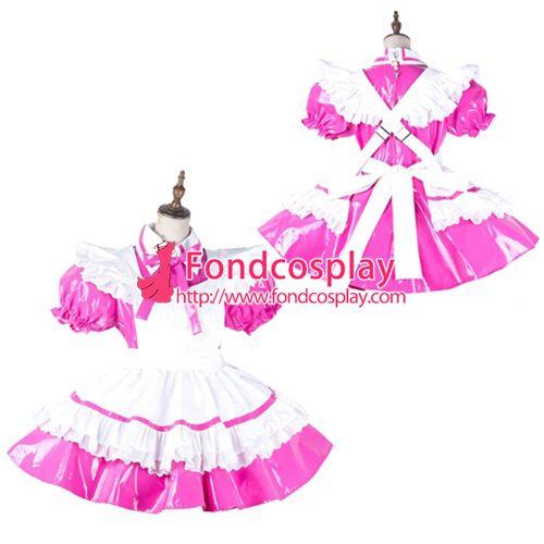 Sissy maid pvc dress lockable Uniform cosplay costume Tailor-made[G2139]