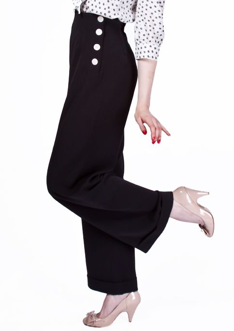 1940s Swing Trousers - Black £65.00 AT vintagedancer.com