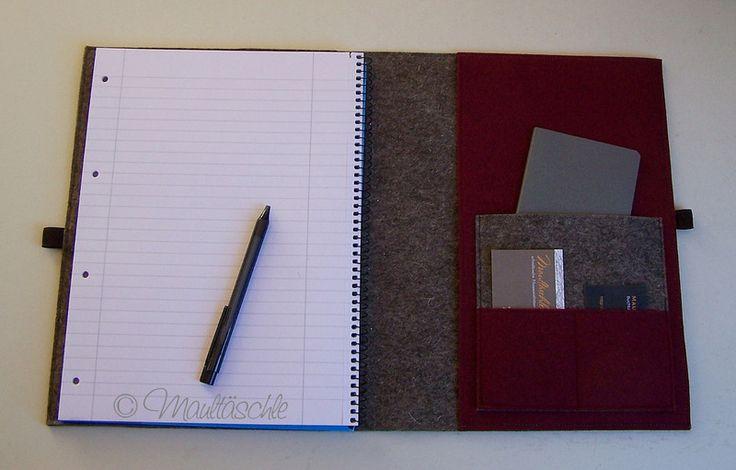 Linkshänder Schreibmappe A4 +Collegeblock & Stift von Maultäschle auf DaWanda.com