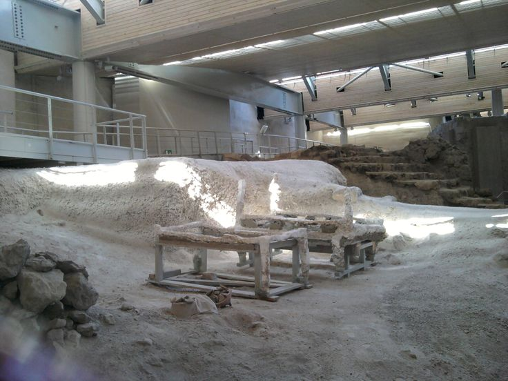 Santorini excavations ( a ancient bedroom and the two beds).