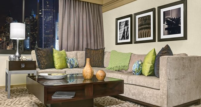Hilton Times Square Hotel, New York, NY - King 1 Bedroom Deluxe Suite Living Room | NY 10036