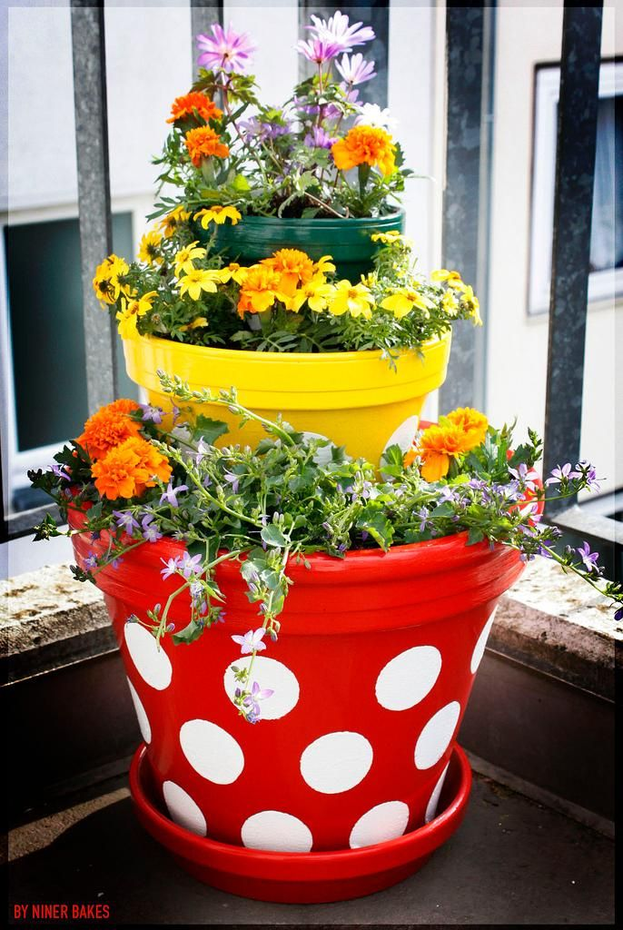 Make And Take Room In A Box Elizabeth Farm: DIY Garden Tiered Planter : DIY ?? Polka Dot Tiered
