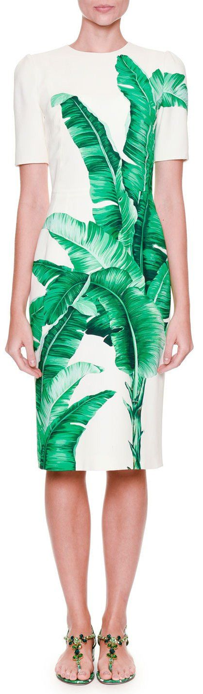 Banana Leaf-Print Sheath Dress