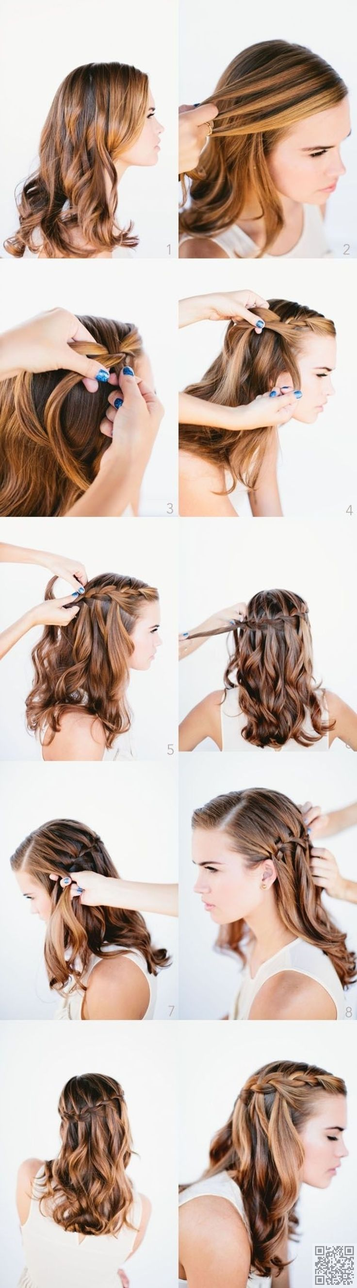 21. #Romantic Waterfall Braid - 33 Romantic #Hairdos to Wow Your Date on Valentine's Day and beyond ... → Hair #Waterfall