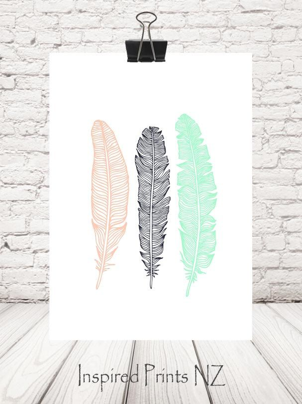 A4 Print Feathers by InspiredPrintsNZ on Etsy