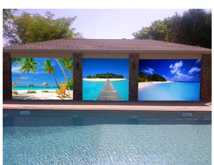 Got a BIG pool cabana?  No problem!  Even those roll shutters can be treated.  Want to put your favourite Caribbean image on them?  No problem.  Maybe a palm tree or some wild life?  We can do that too!