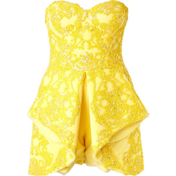 Mikael D. strapless embellished playsuit ($5,669) ❤ liked on Polyvore featuring jumpsuits, rompers, yellow romper, yellow rompers, playsuit romper, strapless romper and silk rompers