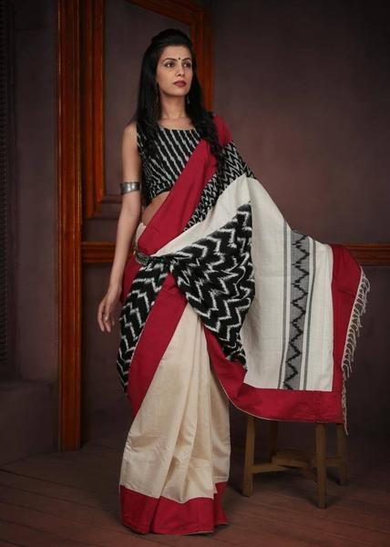 Saree - Off White Chanderi With Ikat Pallu & Black & White Ikat Blouse Piece