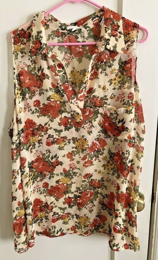 70aa764d334d77 Pleione Anthropologie Womens Sleeveless Blouse White Red Floral Sheer Top  2X #Pleione #Blouse #Career