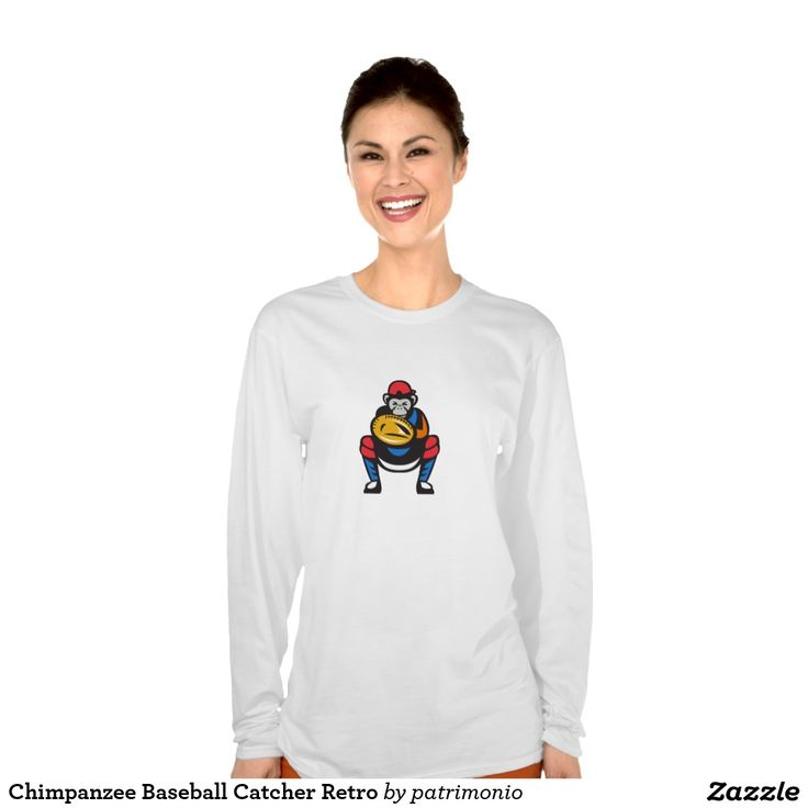 2016 Rio Summer Olympics ladies long sleeve shirt showing an illustration of chimpanzee baseball catcher viewed from front set on isolated white background done in retro style. #baseball #olympics #sports #summergames #rio2016 #olympics2016