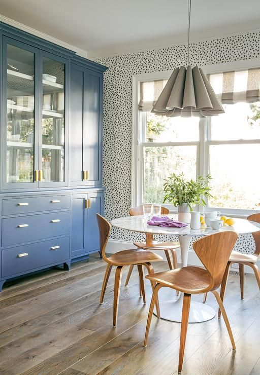 China cabinet painted with Benjamin Moore Evening Dove.  Architectural Digest.