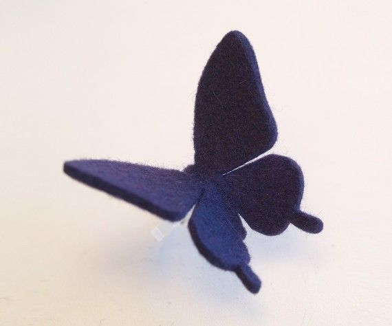 Aid for Japan  felt BUTTERFLY RING VIOLET Swallowtail by MIXKO, $7.00