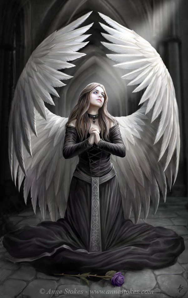 This angel is not specific to any religion but a symbolic fantasy being. Life can be hard and sometimes filled with sorrow. Here she offers a prayer in rememberance of those who have died before their time.
