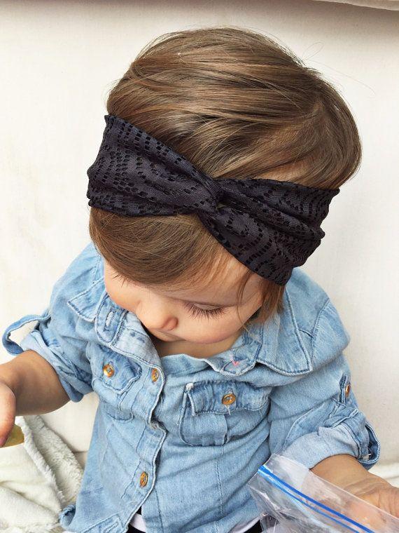 Black Lace-ish baby turban headband by turbansfortots on Etsy