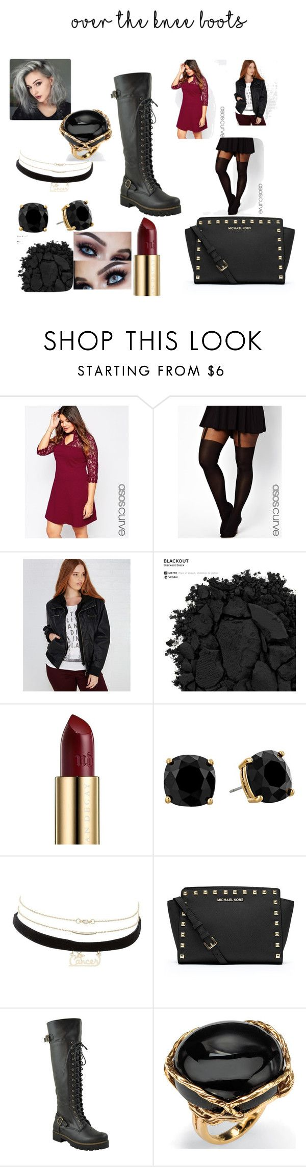 """Over the knee boots"" by kindan3rdy22 ❤ liked on Polyvore featuring ASOS Curve, Ambiance Apparel, Urban Decay, Kate Spade, Charlotte Russe, MICHAEL Michael Kors, Palm Beach Jewelry and plus size clothing"