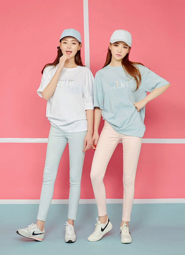 future: pastel blue graphic tee, pink skinny jeans, light blue skinny jeans