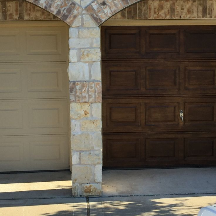 Finally re did my garage doors with antique walnut gel for Garage ad stains