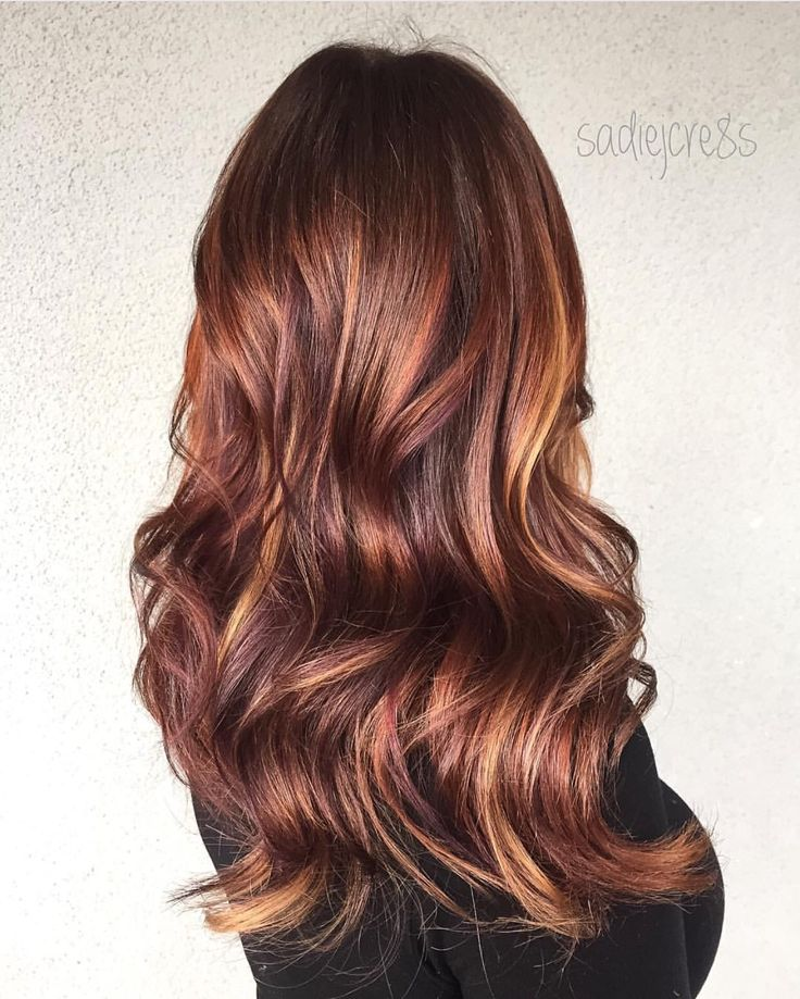 Depth and richness!! Amazing multidimensional hair color design with burnished copper brunette and neutral gold tones. hair artist Sadie Gray instagram.com/hotonbeauty