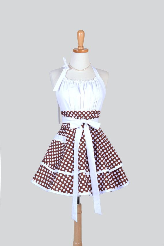 Flirty Chic Apron , Cocoa Brown and White Dots Two Layer Skirt Cute Flirty Sexy Retro Womens Apron CreativeChics