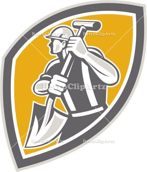 artwork, construction, crest, digger, digging, graphics, hardhat, illustration, industrial, male, man, retro, shield, shovel, spade, tool, t...