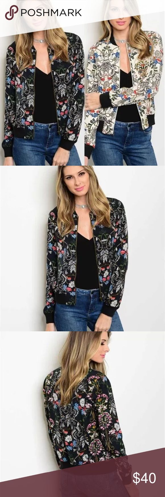 Cute flowered bomber jacket Cute Long Sleeve Zipper Floral Print Bomber Jacket Ladies Outerwear  Material : Fabric Content: 100%Polyester  Color: Black, Beige Fashionable Floral Print Bomber Jacket Comes in s, m or large. True to size * Jackets & Coats