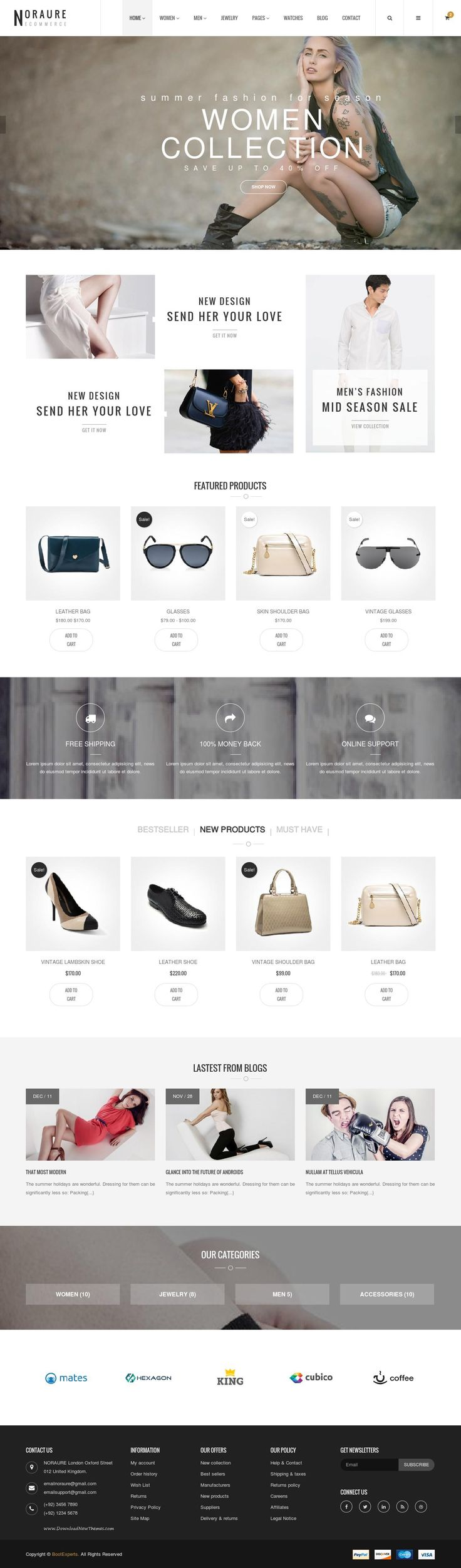 Noraure Mega Shop Bootstrap Template is a clean and elegant design with 6 defined layouts for home page to give you best selections in customization.