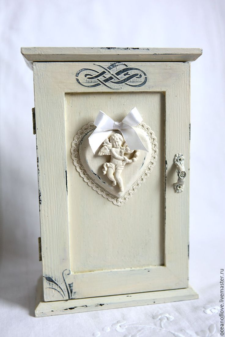 Buy Key box ANGEL - white color, milky color, angel, heart, vintage style