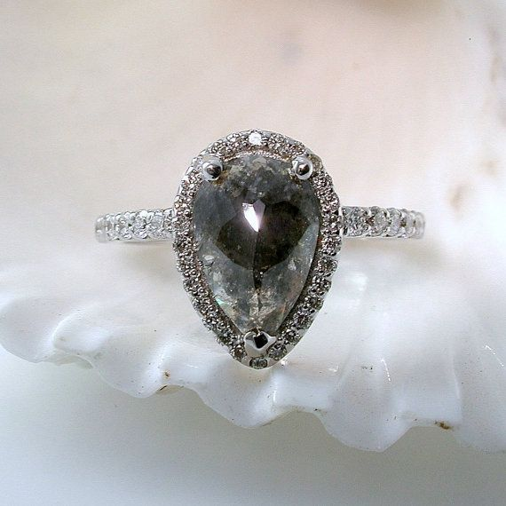 Grey Diamond Engagement Ring MADE TO ORDER Pear by JewelLUXE