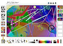 BRUSHster is a painting machine for all ages. This interactive has more than forty brushes and many customizable size, transparency, and stroke options. A rainbow palette, along with a toolbox of special effects that blur, ripple, smudge, blend, and fragment your designs make BRUSHster a full-feature painting program. You can use it to draw pictures, but BRUSHster isprogrammed to create ABSTRACT art. Are you more interested in exploring color, gesture, shape, or line? BRUSHster can do it…