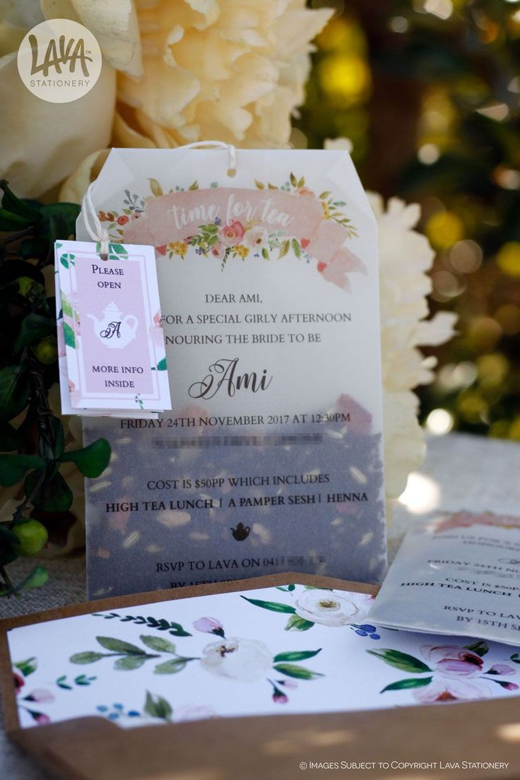 These invitations are perfect for a girly high tea #BridalShower! Open it up and use the deliciously yummy Aussie Chai tea leaves to make your own perfect cuppa ☕  •••  #TeaBagInvitation #HighTeaWithTheGirls #HighTea #FloralInvitation #TeaBagInvite #LavaStationery #GettingMarried #AussieChai #MadeInAustralia #DesignedInAustralia #LooseTea #TeaLeaves #VellumPaper #DIYInvitations