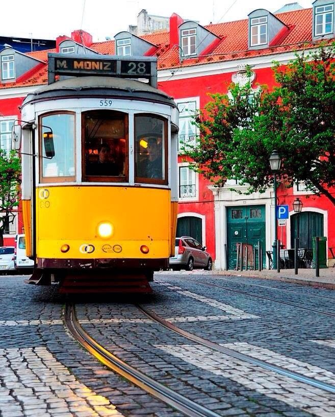 Tram 28 at Alfama district - Lisbon