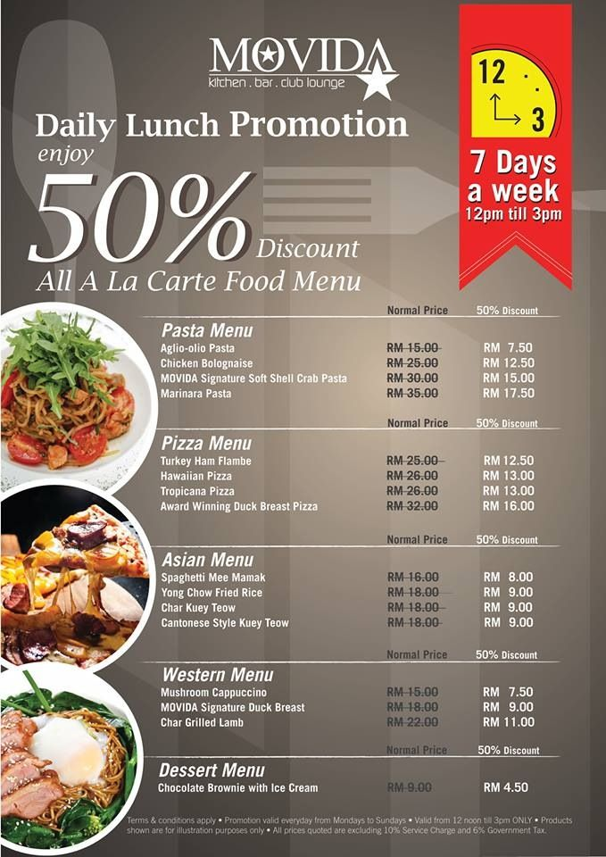 MOVIDA Daily Lunch Promotion: Enjoy 50% Discount Off all A la Carte Food Menu Everyday from 12noon to 3pm! Bon Appetit!