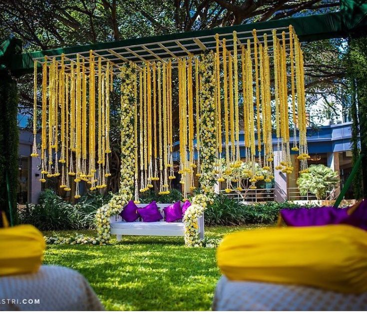 Indian wedding decoration idea # creative bride groom outdoor stage for Mehandi # desi weddings
