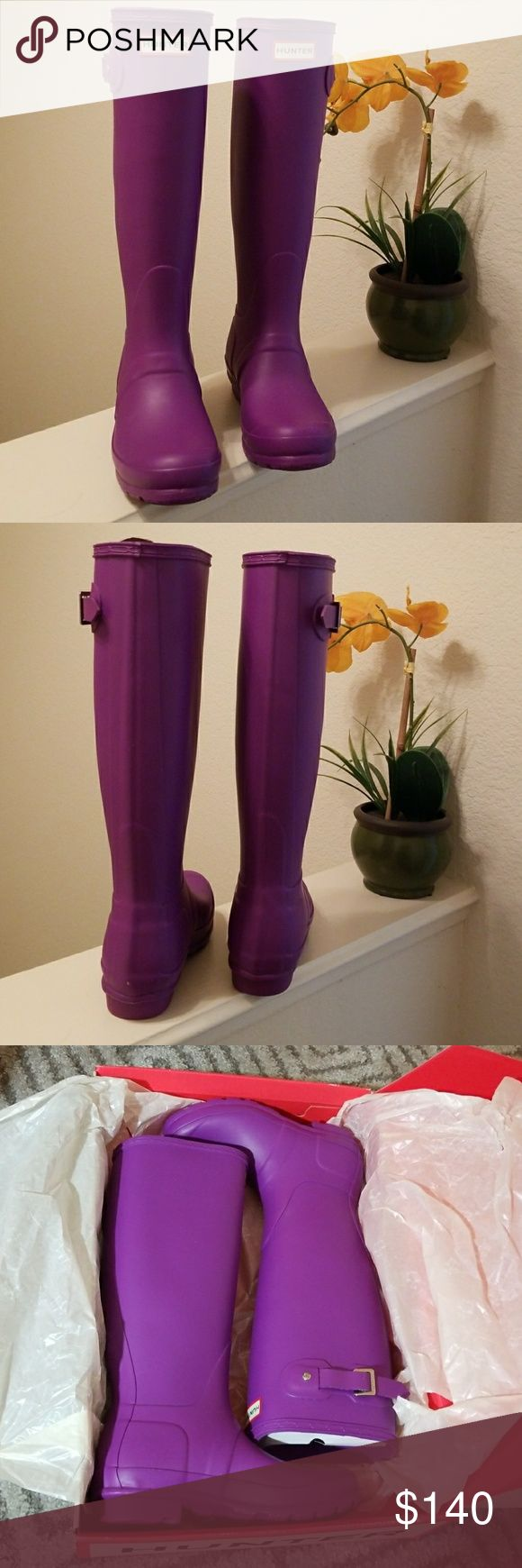 Brand NEW Neon Purple Hunter Boots Never warn BRAND NEW Tall Hunter Boots Matte Hunter Shoes Winter & Rain Boots