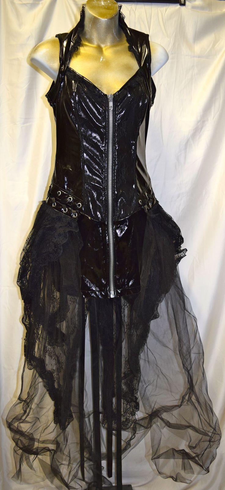 Vintage Lip Service PVC & Lace Corset Gothic Dress Small