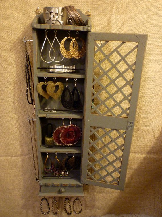 Upcycled Jewelry Organizing Display Grey Cabinet by KelkoDesign