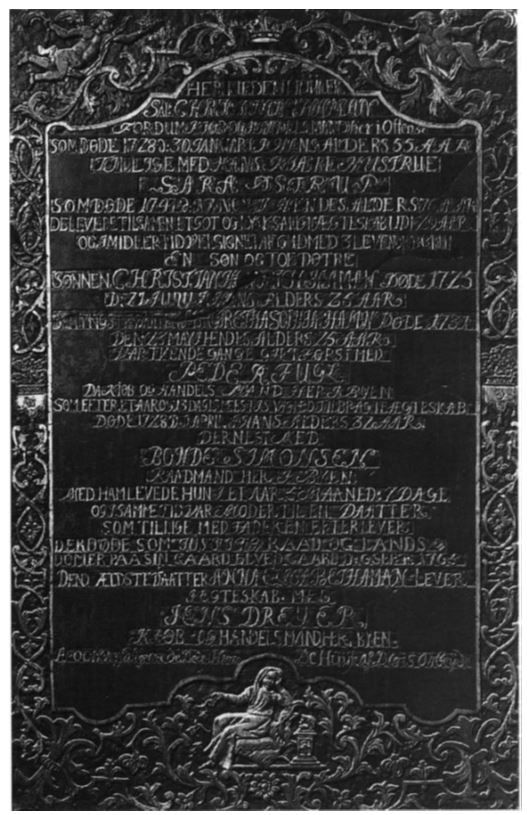 Wall monument no. 20, for Christian Haman (1673-1728) and wife Sara Østrup (†1747) at St Canutes Cathedral, Odense, Denmark.  Inscription(Translation): Christian Haman købog (merchant), 30th January 1728 in his age 55th years, with his wife, Sara Østrup, † 17 November 1747 in his age 76 years.