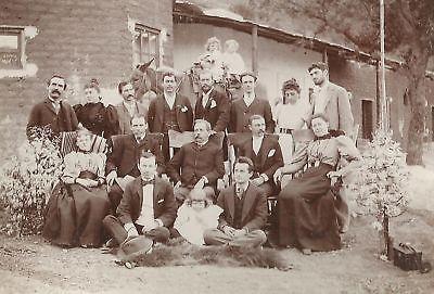 CABINET PHOTO WESTERN FAMILY CHILDREN ON DONKEY 1890S