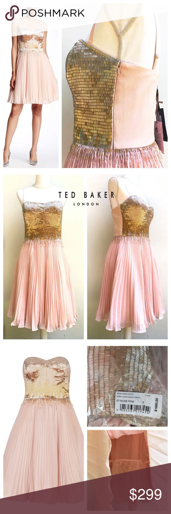 NWT🎀Ted Baker Calita Pink Beaded Silk Dress, 3 Calita Embellished Silk Dress Nude Pink sz 3= US 8. sizes 1,2,3 available. Strapless style features glistening beading across the bodice, with a degrade effect as it falls into the soft, billowing skirt. A true style investment Ted Baker's TUX collection Women's embellished evening dress Fully boned structured bodice Pleated chiffon skirt Hand embellished with glass bugle beads  side zip fastening Comes with removable straps Fabric Content…