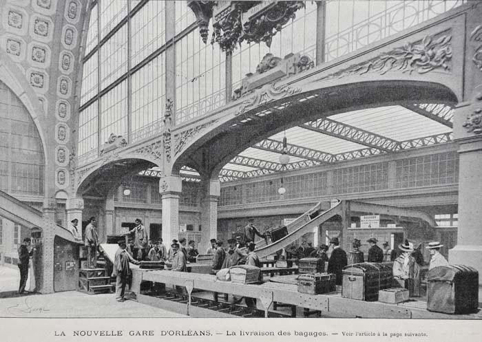 "gare dorleans orsay 1900 ""Check out the baggage handling! Did they invent losing bags as well?"" KB"