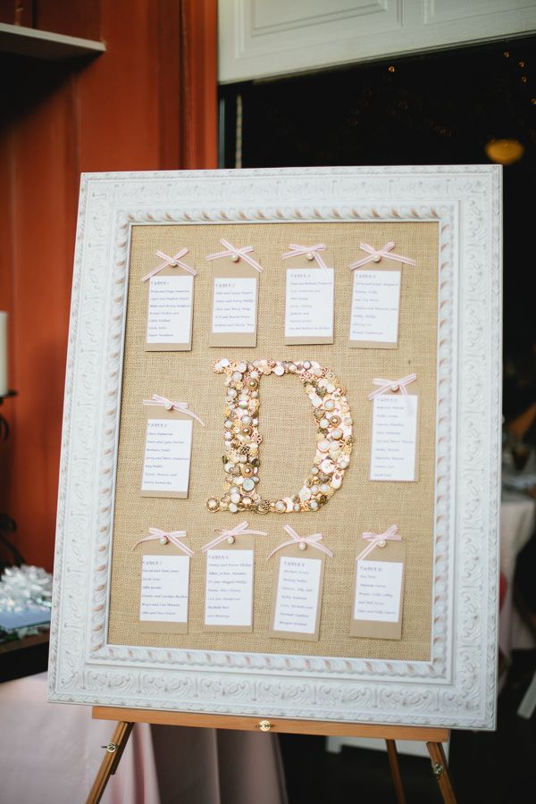 pretty escort card display with bows + burlap | Loft Photographie