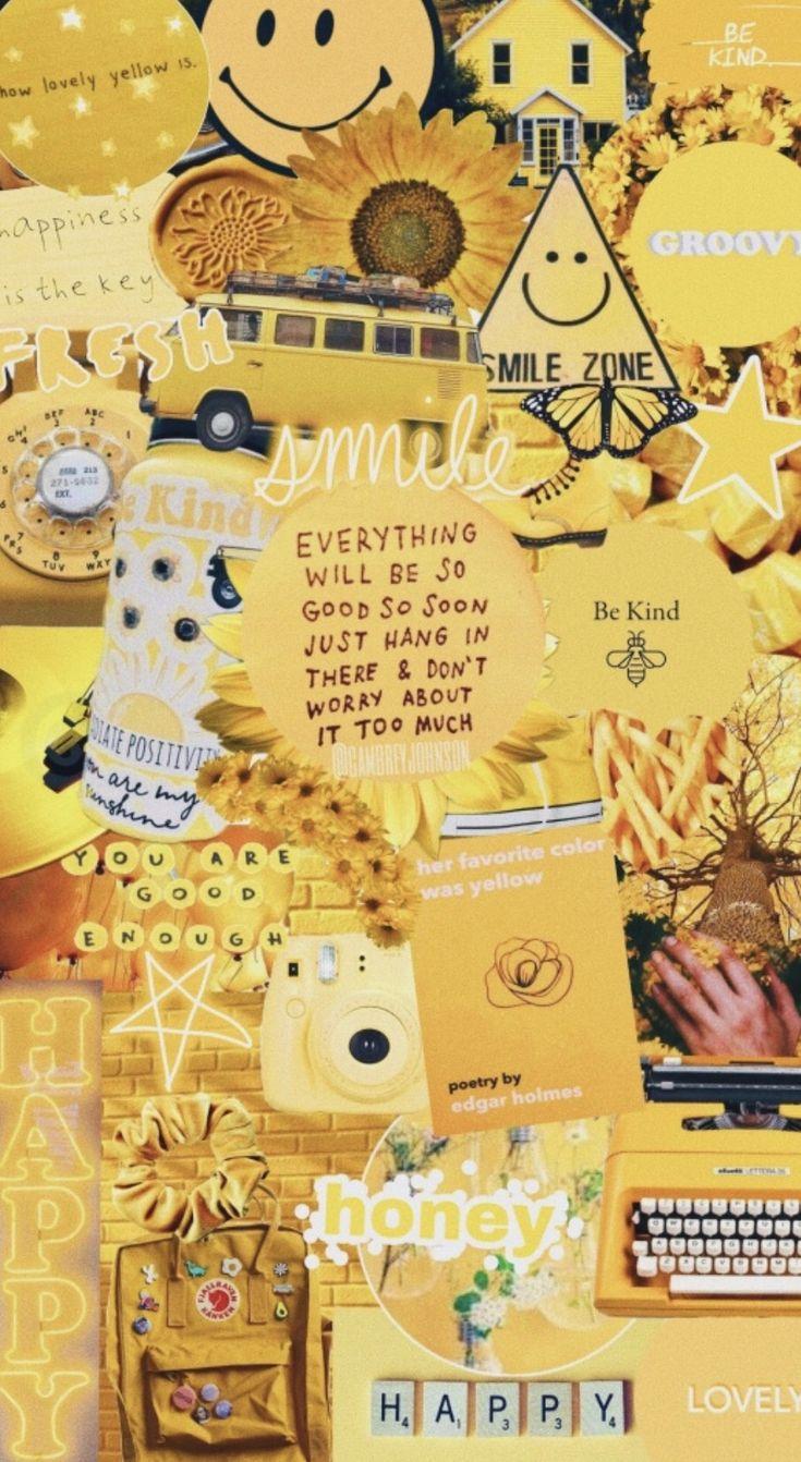Vsco Collage Aesthetic Fondo De Pantalla Amarillo Iphone Papel Tapiz Amarillo Fondos De