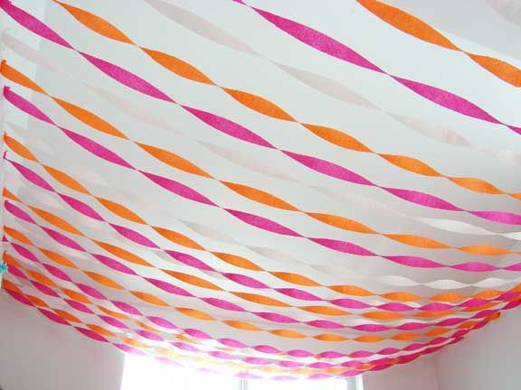 Ceiling decorations with crepe paper