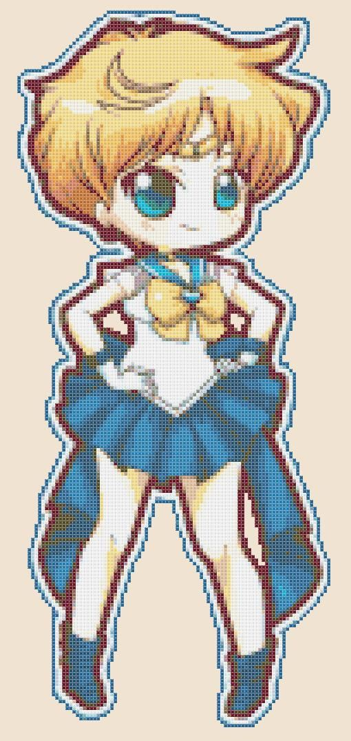Chibi Sailor Uranus - pdf cross stitch pattern istant download - schema a punto croce formato pdf scaricabile