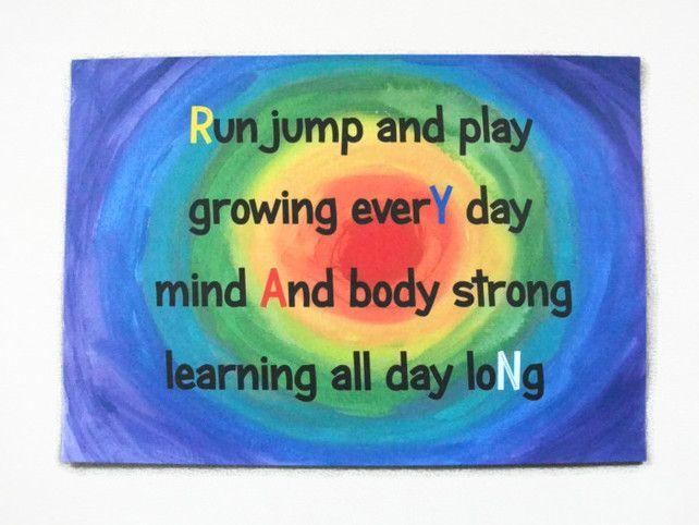 Custom Kids Personalised Rainbow Art. Ryan. Typography, Nursery Art, Child, Baby £18.00