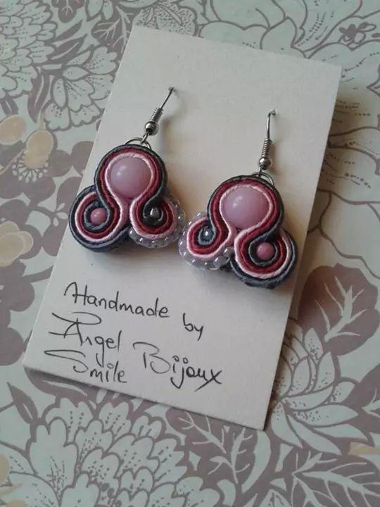 Soutache pink'grey earrings