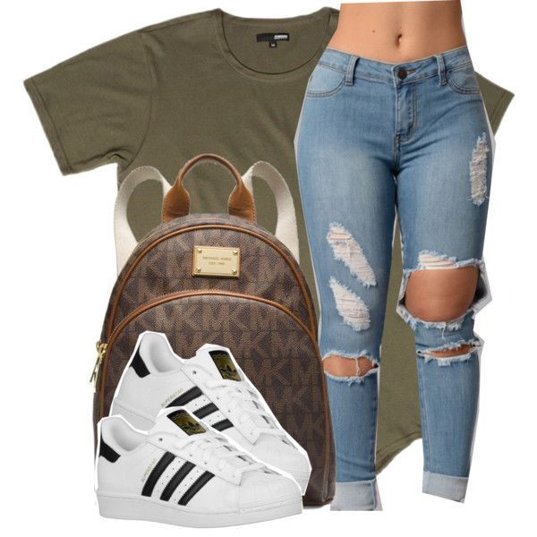 A fashion look from April 2016 featuring adidas Originals athletic shoes and MICHAEL Michael Kors backpacks. Browse and shop related looks.