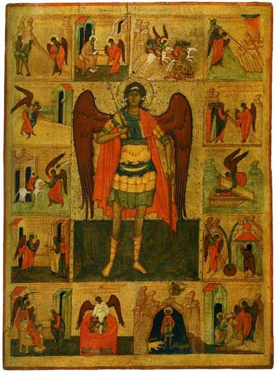 Archangel Mikhael with scenes from his life, Yaroslavl, early 17th cent, Rublyov Museum, Moscow