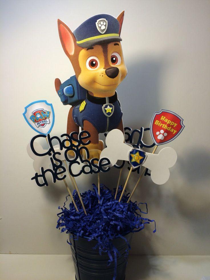 imagenes de arreglos de fiesta de paw patrol | CHASE Paw Patrol centerpiece by myhusbandwearscamo on Etsy, $14.00