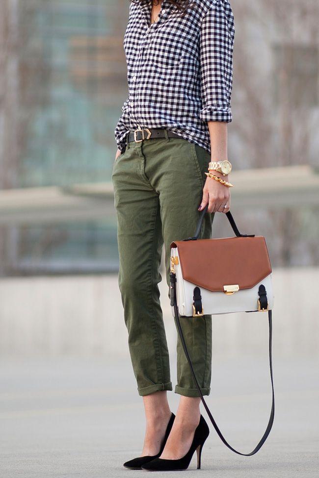 gingham shirt, army pants, heels